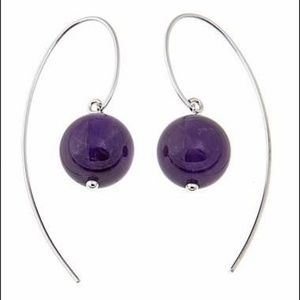 Gemstone Bead Sterling Silver Drop Earrings